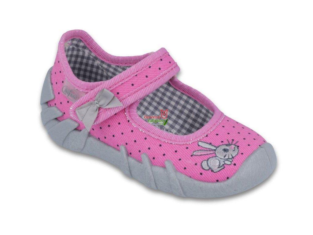 Balerínky botičky bačkůrky Befado Speedy 109P169 růžové s králíčkem ... a4e626474c