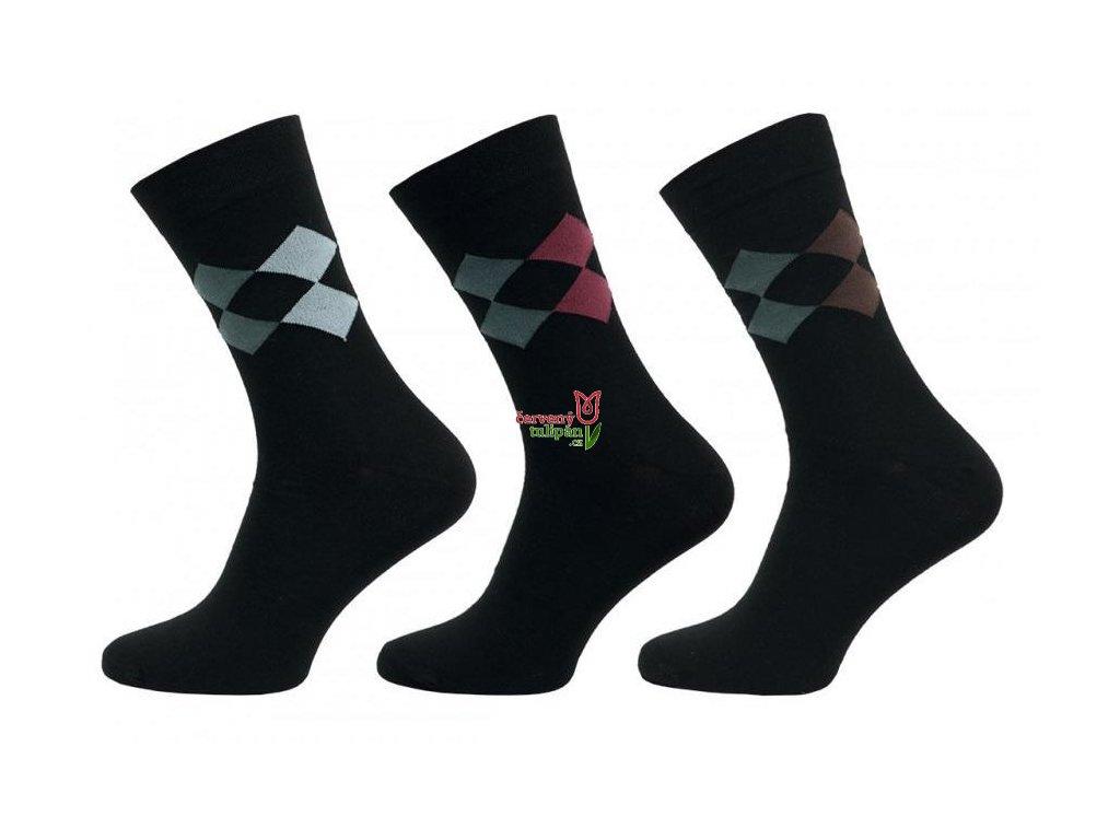Ponožky NOVIA 1041 ČERNÉ károvaný vzor