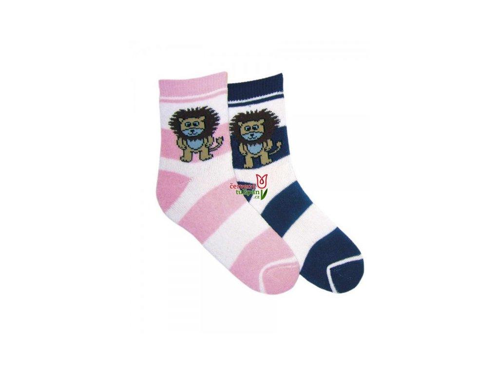 Dětské termo ponožky NOVIA 1521 lvíček růžové