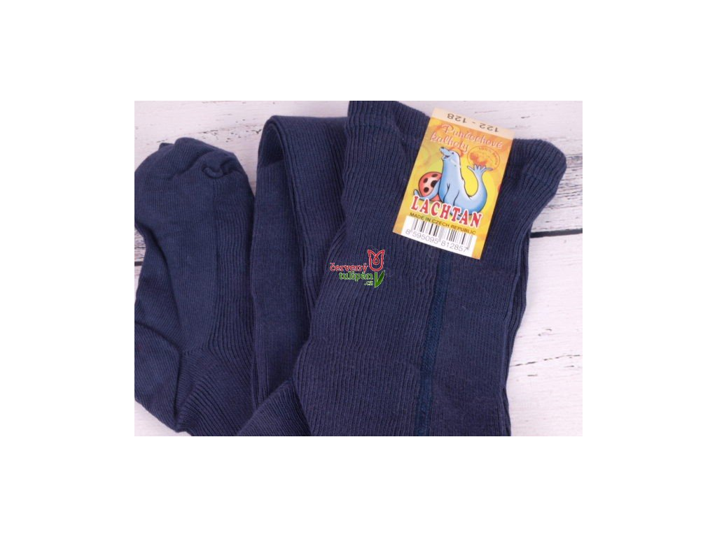 Punčocháče Dotex Lachtan žebrované 100% bavlna tm. modrá