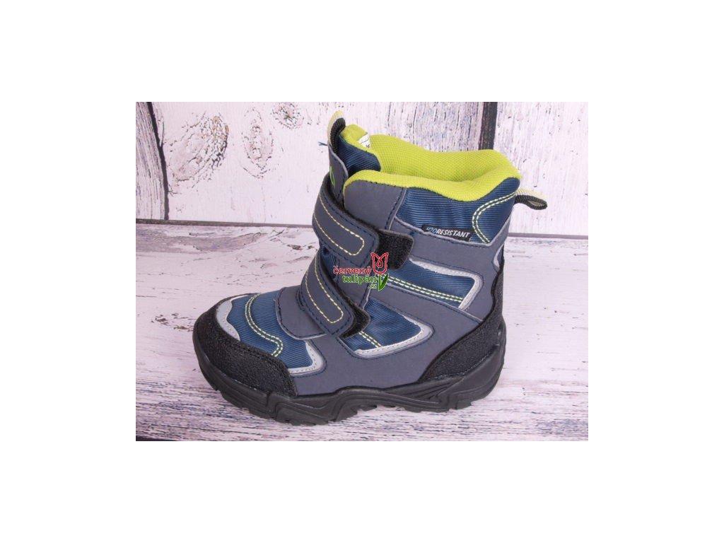 Zimní boty sněhule Junior League 3770 modrošedá / limetka