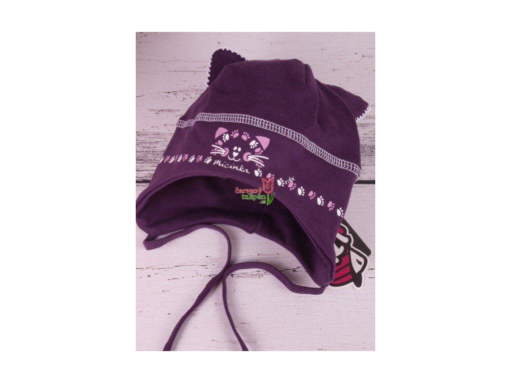 Čepice RDX 2321 vázací tm. fialová kočka