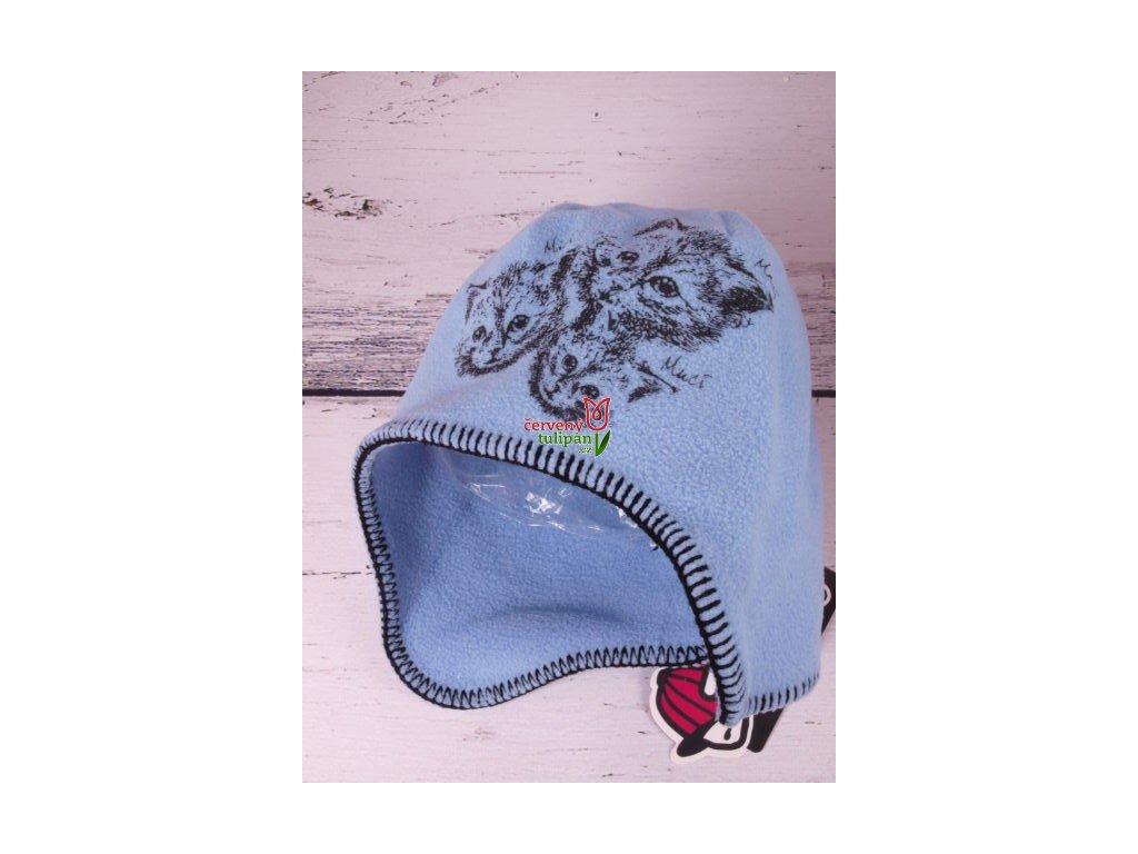 Čepice zimní flísová RDX 3264 sv. modrá kočky