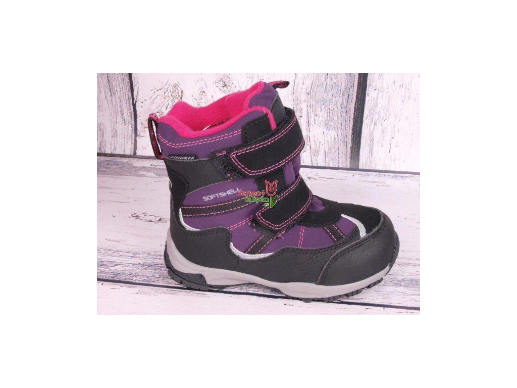 Zimní boty sněhule Junior League 3749 softshell voděodolné fial/ růž