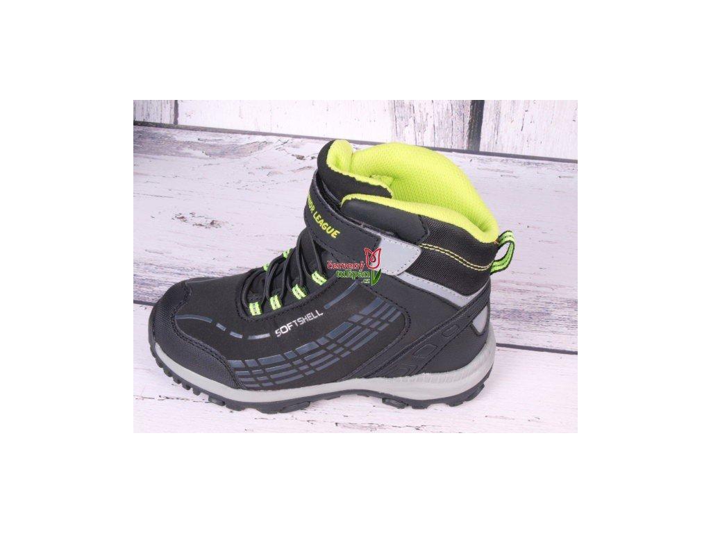 Zimní boty obuv treková softshellová  Junior League 3688 černá / limetková