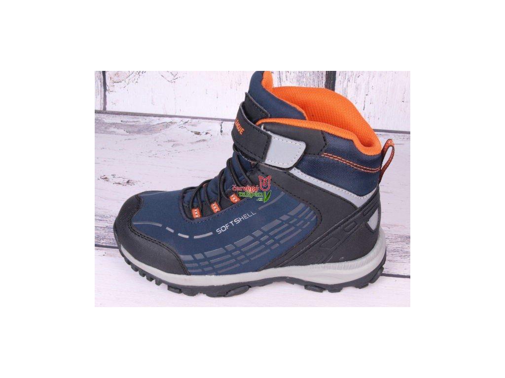Zimní boty obuv treková softshellová  Junior League 3687 tm. modrá / oranž