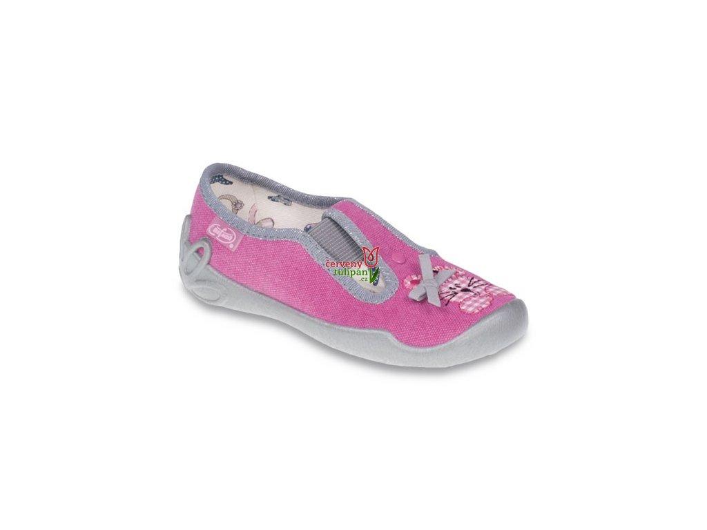 Bačkůrky papučky Befado 180X011 růžové s králíčkem