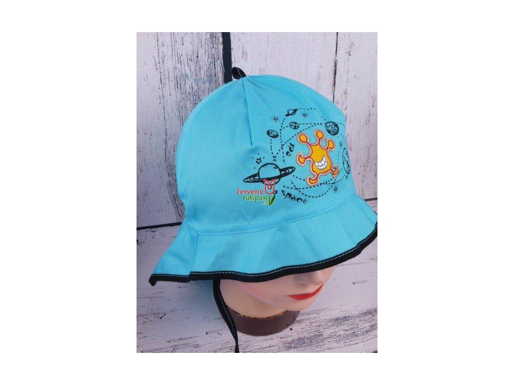 Klobouček klobouk RDX 7428 tyrkys lehký vázací s krytím krku ... 354c400c5e