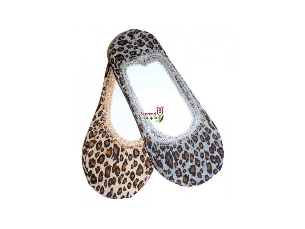 Ťapky Novia 111N bavlněné šedé leopard