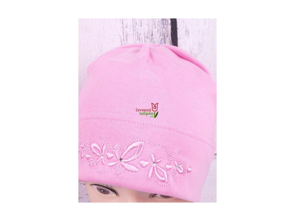 Čepice RDX 2701 sv. růžová s jemnou výšivkou