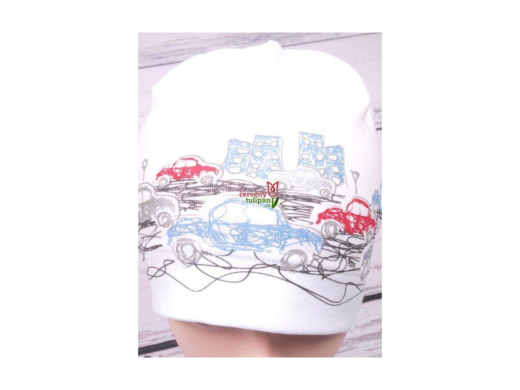 Čepice RDX 2158 bílá s auty - Červený Tulipán d3332fbbcc