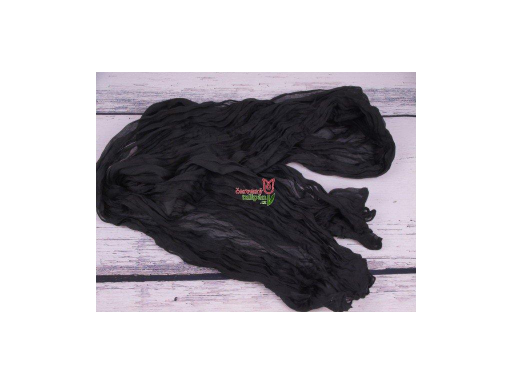 Šála šátek šálka černá mačkaná 2986