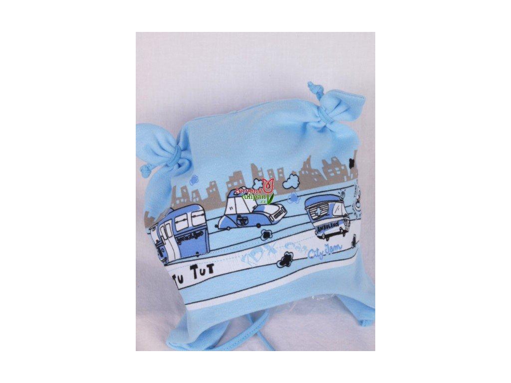 Čepice RDX 1101 vázací sv. modrá s auty