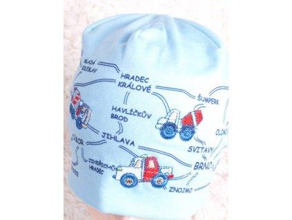 Čepice RDX 1456 sv. modrá s mapou a auty