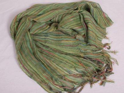 Šála / šátek ST816 zelená s barevnými nitkami