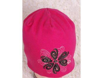 Čepice RDX 1691 tm. růžová s černým květem