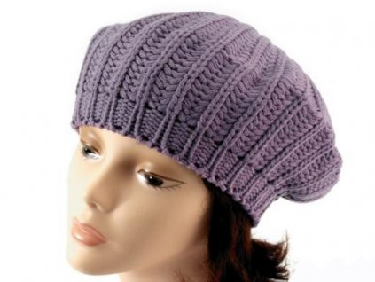 Baret / čepice pletená fialková