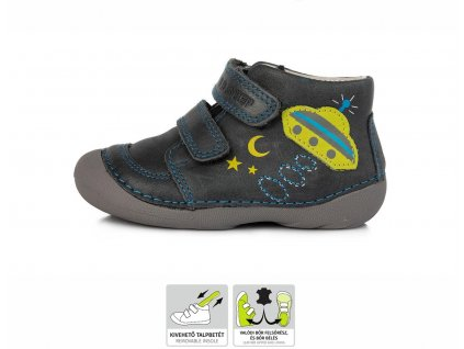 Celoroční kožené botičky obuv D.D.step 015-180 BARE FOOT šedé UFO