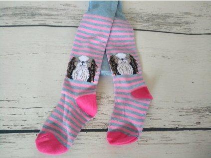 Punčocháče punčocháčky punčošky YO růžovomodré s pejskem