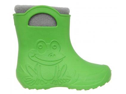 Żabka zielona , szary ocieplacz
