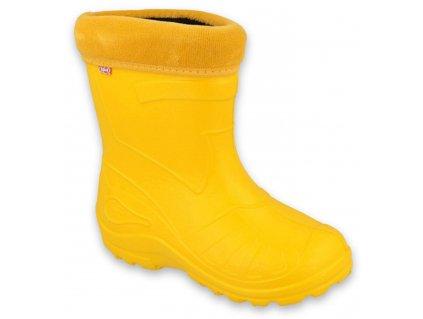 Holínky gumáčky sněhule Befado 162X107/162Y107 žluté zateplené vyjímatelnou vložkou