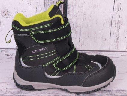 Zimní boty sněhule Junior League 3750 softshell voděodolné černá/ limetka