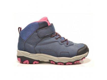 Zimní boty obuv treková Junior League 3690 s MEMBRÁNOU tm. modrá / růžová