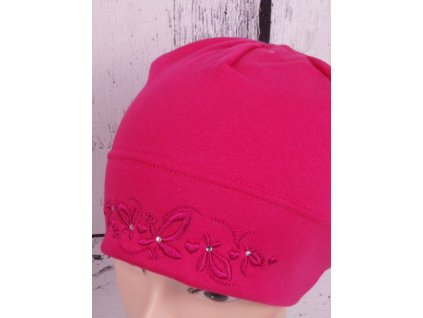 Čepice RDX 2701 tm. růžová s jemnou výšivkou
