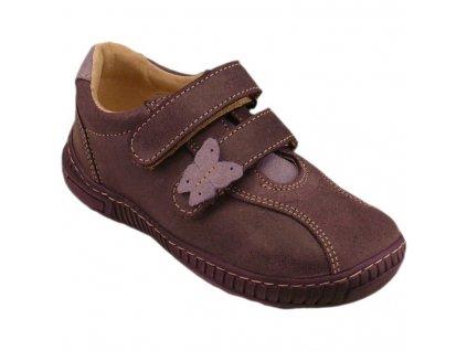 Celoroční kožené boty obuv Pegres tm. fialové 3285