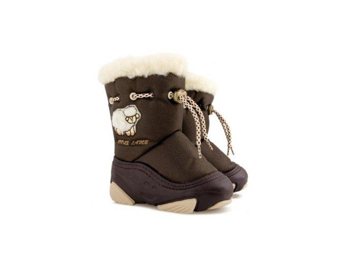 Zimní boty / sněhulky Demar Little Lamb B hnědé s ovečkou