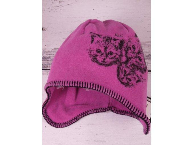 Čepice RDX 3264 zimní flísová fialová kočky