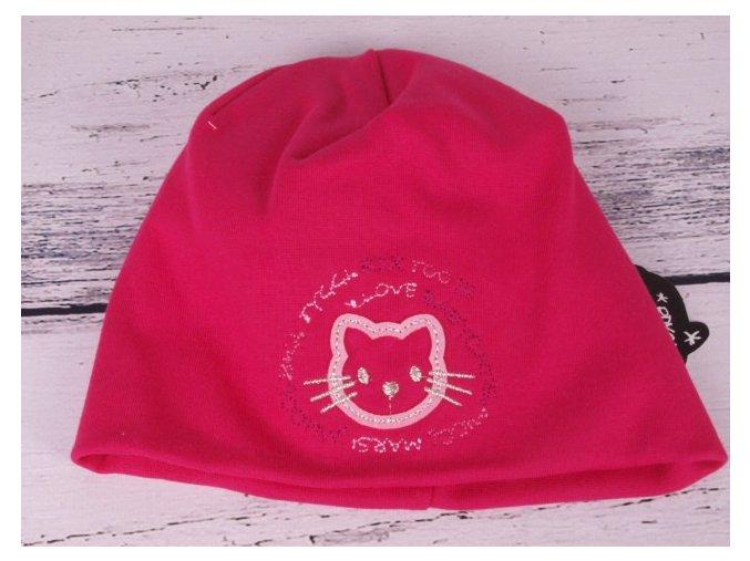 Čepice RDX 2800 dvojitá tm. růžová kočička