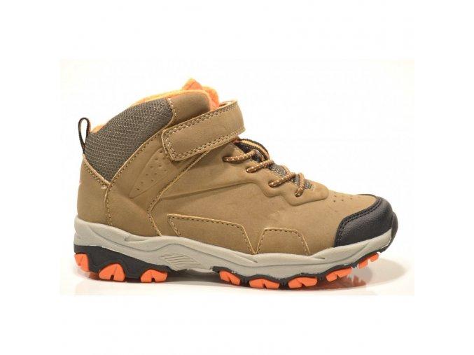Zimní boty obuv treková Junior League 3689 s MEMBRÁNOU hnědá / oranž