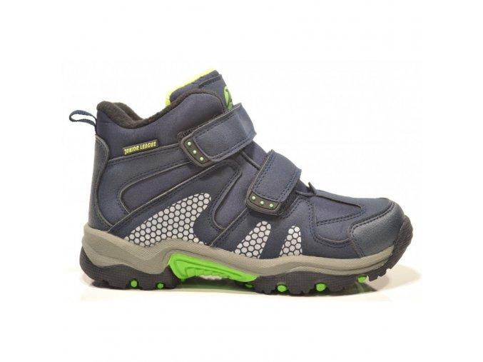 Boty obuv treková zimní Junior League modrá / limetka 3666 S MEMBRÁNOU