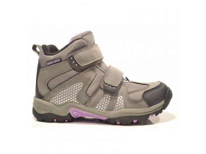 Boty obuv treková zimní Junior League šedá / fialková 3665 S MEMBRÁNOU