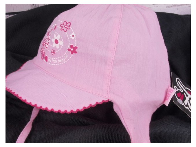 Čepička kšiltovka RDX 7349 sv. růžová lehká vázací - včelka