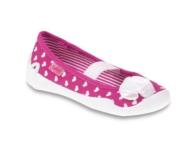 Bačkůrky papučky Befado 193X054 růžové se srdíčky
