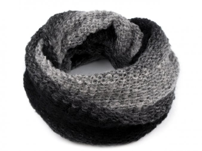 Nákrčník dámský pletený šedočerný