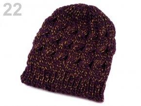 Čepice zimní pletená dámská / dívčí fialová tmavá lurex