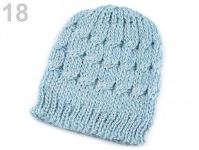 Čepice zimní pletená dámská / dívčí sv. modrá