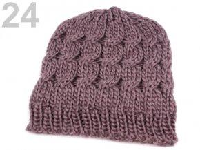 Čepice zimní pletená dámská / dívčí šedofialková