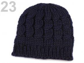Čepice zimní pletená dámská / dívčí tm. modrá