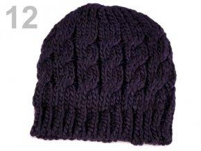 Čepice zimní pletená dámská / dívčí fialová tmavá