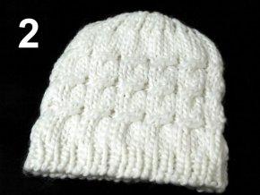 Čepice zimní pletená dámská / dívčí bílá