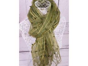 Šála / šátek / šálka zelená s nopky ST1178