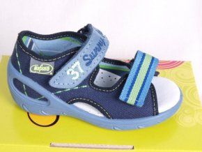 sandálky / bačkůrky Befado s koženou stélkou 042 modrozelené
