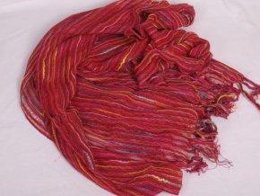 Šála / šátek červená s barevnými nitkami ST815