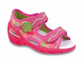 Sandálky / bačkůrky s koženou stélkou Befado neon