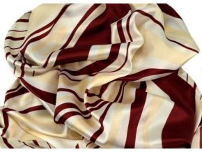 Šátek čtvercový vínovo-krémový 55x55cm