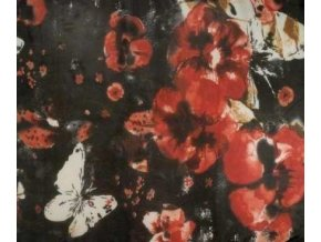 Šálka / šátek s podílem hedvábí, černý s květy a motýlky